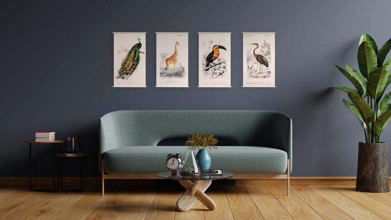 Wanderschoon textielposter Animal Illustrations