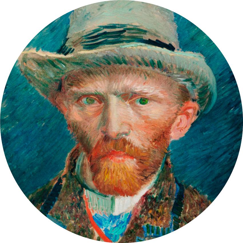 Wandcirkel zelfportret Vincent van Gogh uit 1887